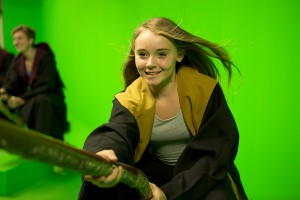 Girl on broomstick at Studio Tour