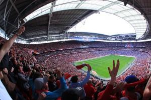 Football match at Wembley Stadium