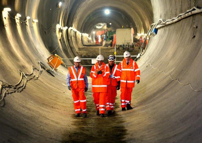 David Cameron and Boris Johnson visit the Crossrail's tunnels