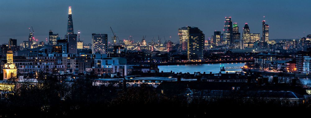 City lights in autumnal London