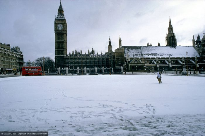 Big Ben in the snow, Westminster, London, England.