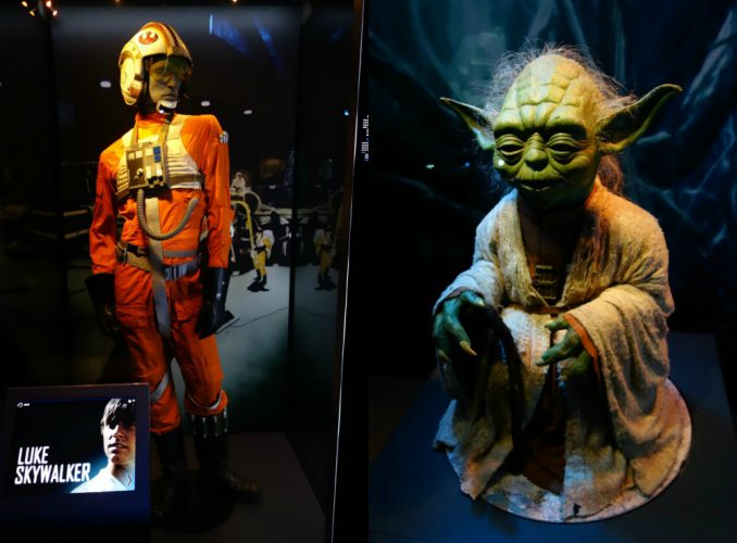 Luke Skywalker costume and a Yoda model