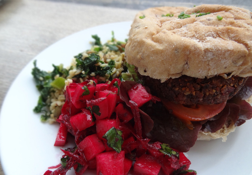 Cafe Kino - burger and salad