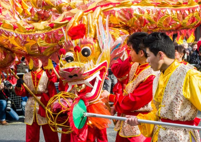 A Chinese dragon in the New Year Parade