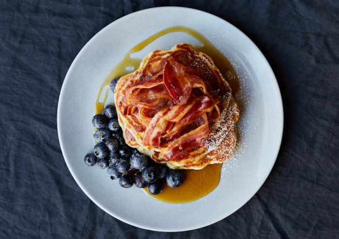 Bacon, blueberry and maple syrup pancakes from Where The Pancakes Are