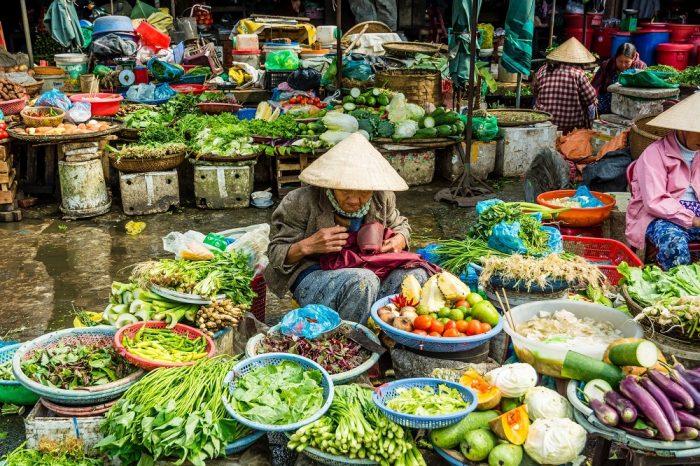 A floating food market in Saigon, Vietnam