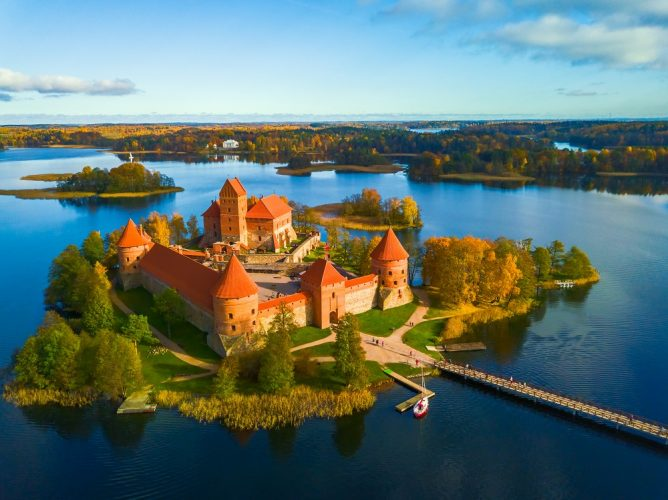 Drone picture of Trakai Castle, on an island on Lake Galve, Lithuania